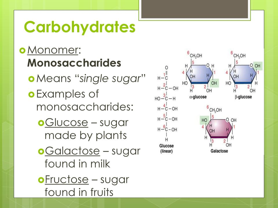 monosaccharides: Glucose sugar made by