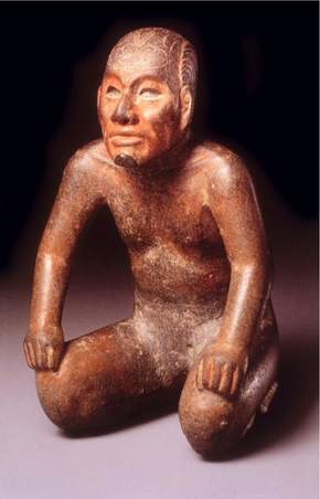 The Princeton Shaman: Shaman in Transformation Pose, Olmec, ca. 800 B.C. An image of the marine toad Bufus marinus is incised on the figure's forehead.