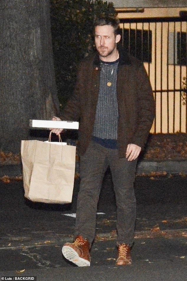 Dinner for one clan: Ryan Gosling was seen getting takeout for his family in LA on Sunday; he has two kids with Eva Mendes