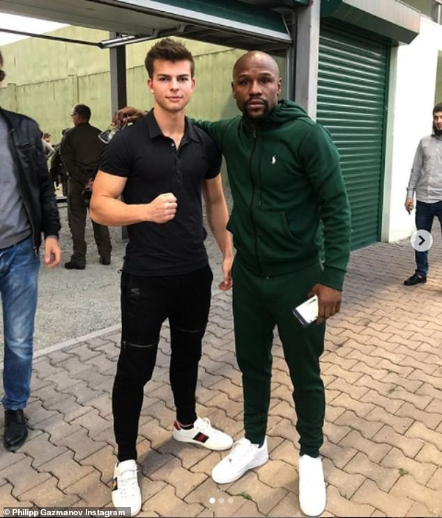 Elsewhere Philipp Gazmanov was seen hanging out with boxer Floyd Mayweather as the Russian elite were seen mingling with the celebrities