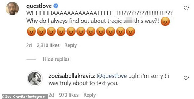 Disappointed: The Roots mastermind Questlove was also upset by the cancellation, and Zoë said she meant to tell him sooner