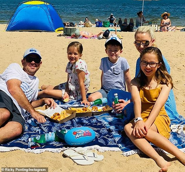 Ricky Ponting is pictured with wife Rianna and children Matisse, Fletcher and Emmy