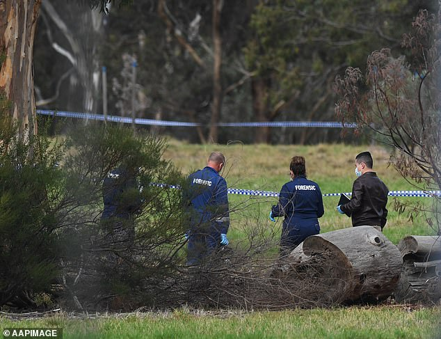 Hammond believed Ms Herron was a spirit connected to a past life who was there to hurt him, and that she would be reincarnated Pictured: Forensic investigators at the scene of the crime