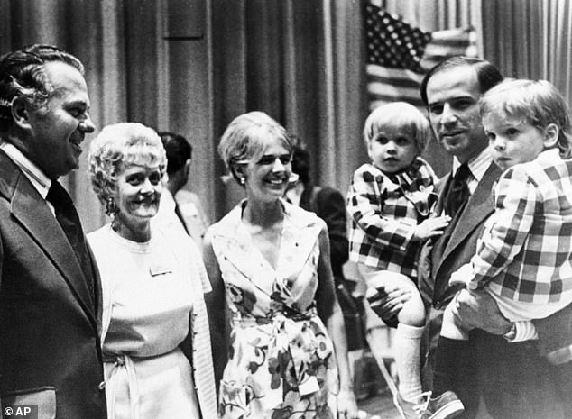 At the time Biden was married to his first wife Neilia who died along with their one-year-old daughter Naomi in a car crash between the election and Biden taking his Senate seat. Pictured: Biden, with both of his sons during an appearance at the Democratic state in summer of 1972. At center is his wife Neilia, who was killed in an auto crash that December