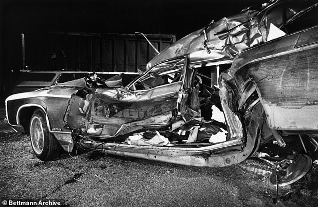 Pictured: The remains of the car in which Biden