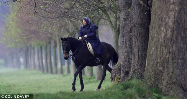 Time out: The Queen riding in the grounds of Windsor Castle, another of her assets