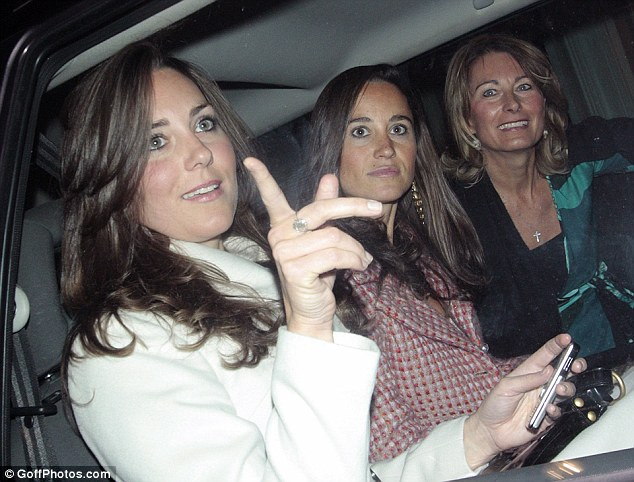 Girls together: Kate is close to her mother and younger sister, Pippa
