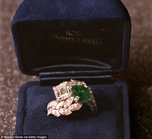 Unforgettable jewels: The beautiful ring, which also features round brilliant and marquise cut diamonds in addition to its two main stones, has an estimated value of $1.39 million