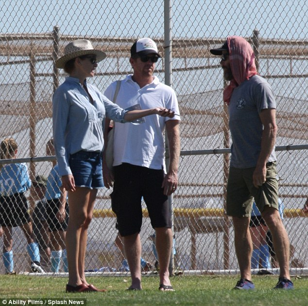 Sidelines: The Pretty Woman actress and her cinematographer spouse mingled with other parents during the match