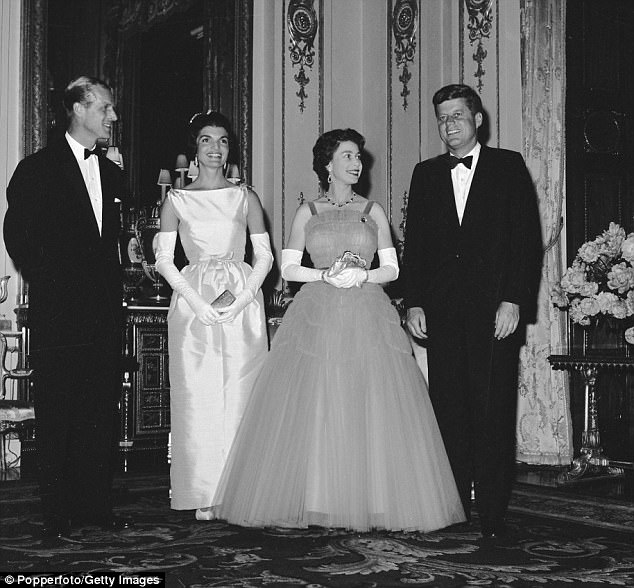 She often wore a tiara at special events suggesting that she and the president were American royalty (Jackie and the president at Buckingham Palace in 1961)
