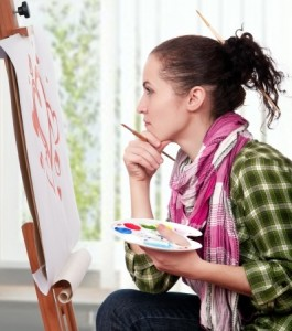 woman painting as a hobby