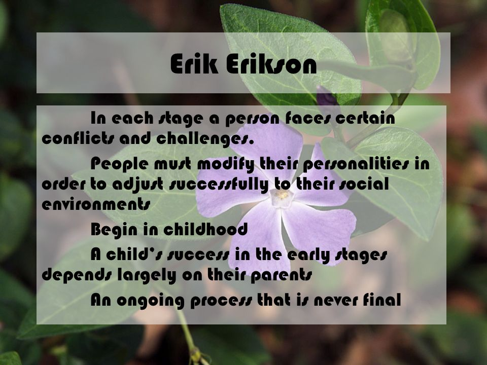 Erik Erikson In each stage a person faces certain conflicts and challenges.