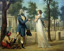 A painting by Louis-Léopold Boilly (ca. 1797).The woman has been interpreted as a prostitute (who is disdaining the inadequate coin proffered by the fashionable gentleman getting his shoes shined at left).