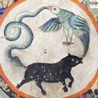 A bird, a snake and a pig shown rushing around in a circle, each holding the tail of the next in its mouth.